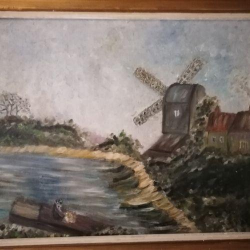"""G.FIGUIERE """"Moulin au bord de la rivière"""",布面油画,右下角签名。48x63厘米"""