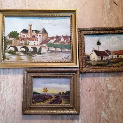 """3 tableautins signés CHATELAIN, TURET OU monnogrammé G """"paysages"""" huile sur toil…"""