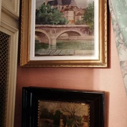 """2张代表 """"路易 菲利普桥,圣热尔维教堂 """"和 """"河岸 """"的桌子,布面油画和面板。30x20和14x18厘米"""