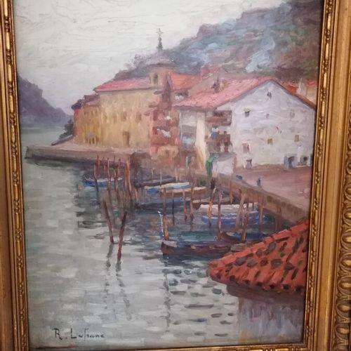 """Roland LEFRANC (1931 2000) """"village au bord de l'eau"""", huile sur panneau signée …"""