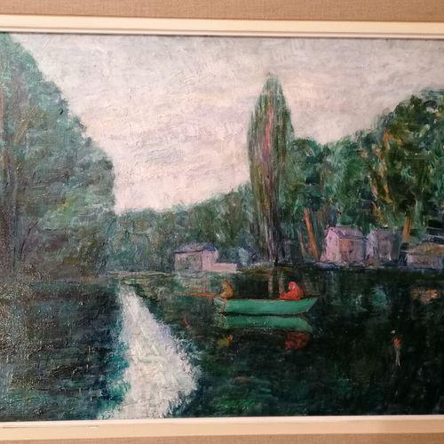 法国学校第XX届《有船的风景》布面油画,49x64厘米