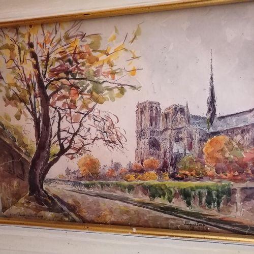 """Jacques PUIG """"巴黎圣母院的床边"""",纸上水彩画,签名和日期为9/11/42. 22x30 cm"""