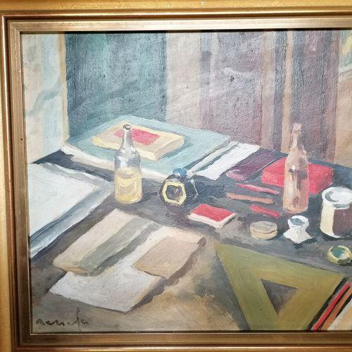 Jean Constant Raymond RENEFER (1879 1957)《带墨汁的静物》,木板油画,左下角有签名 20x24 cm