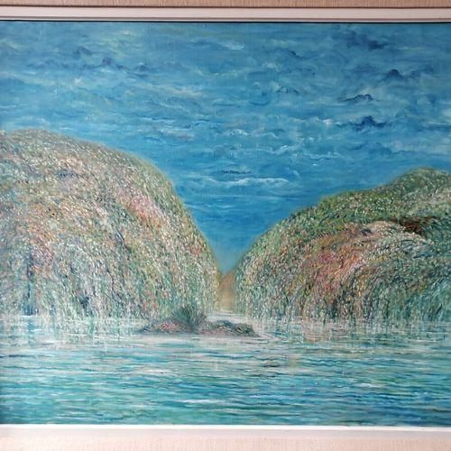 """Etienne PICARD (1935 1995) """"les saules pleureurs"""" huile sur toile signée et titr…"""