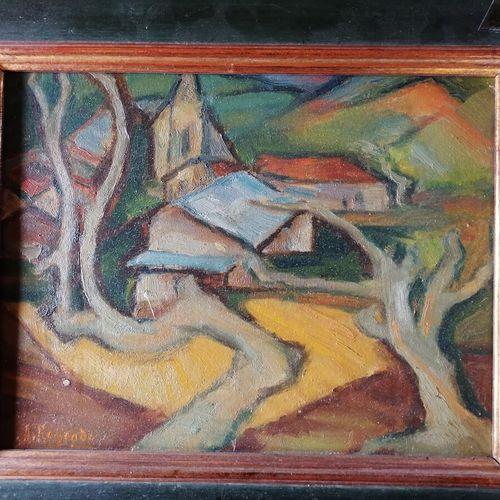 André RAGEADE《有树的风景》 Isorel上的油画 21x26 cm