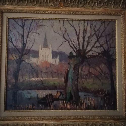 """Albert MALET (1905 1986) """"L'abbaye de Saint Wandrille"""", huile sur panneau signée…"""