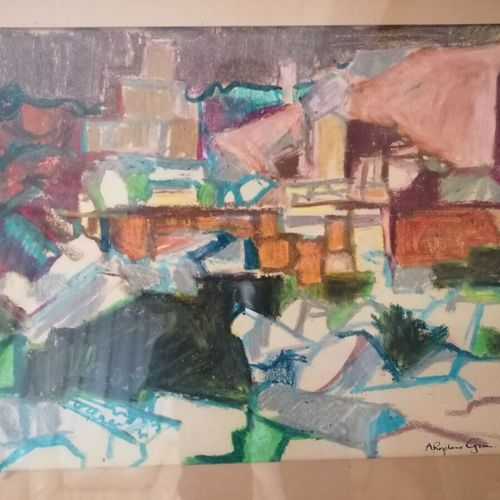"Alfred ROZELAAR GREEN (1917 2013) ""paysage d'Anatolie, composition"", technique m…"