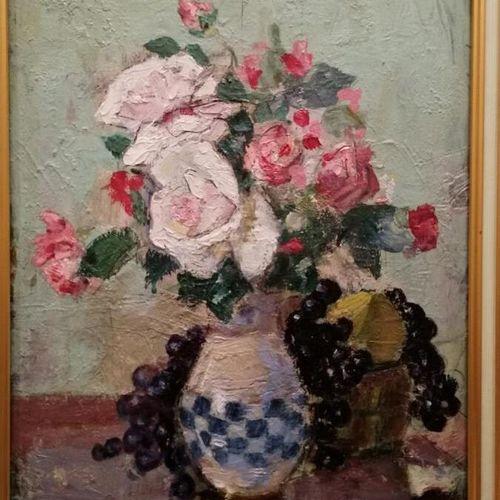 """Yvonne BRUDO """"nature morte aux fleurs"""" huile sur panneau signée bas à droite. 40…"""