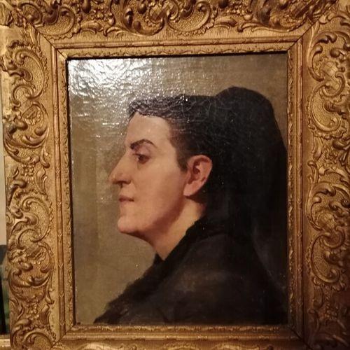 """乔治 施莱贝尔(归属)的 """"女性侧面肖像"""",布面油画,40x32厘米(油漆碎片)。"""