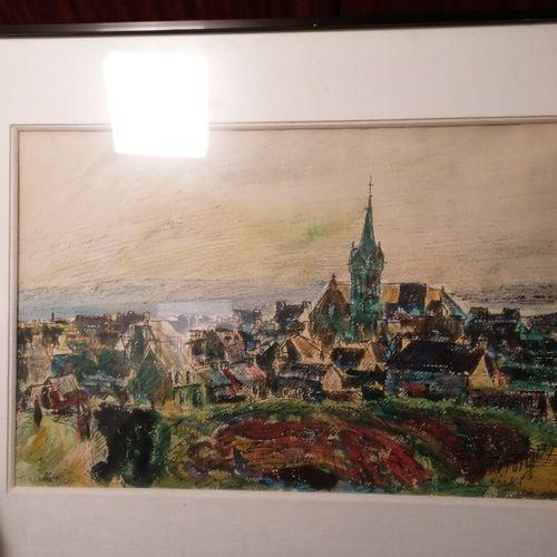 "TCHERNIAWSKY Charles ""村庄"",纸上水彩和水粉画。30x45厘米"