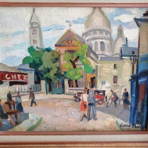 """Pierre FAVRE """"le Sacré Coeur à Montmartre"""",布面油画,右下角签名。33x40厘米"""