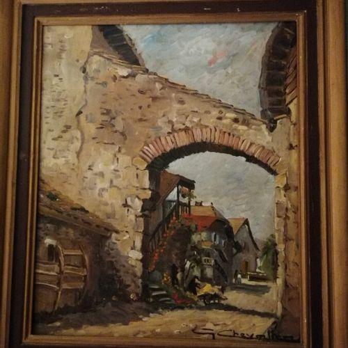 """(chambre bleue) G. CHEVALIER """"le chemin du hameau"""" huile sur toile signée en bas…"""