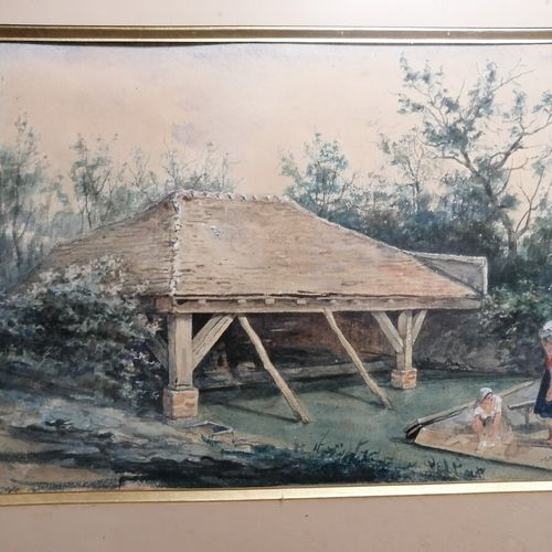"L.LEMONNIER ""农场入口 ""板面油画32x50厘米;Adolf YVON ""洗衣房 ""纸上水彩画28x37厘米"