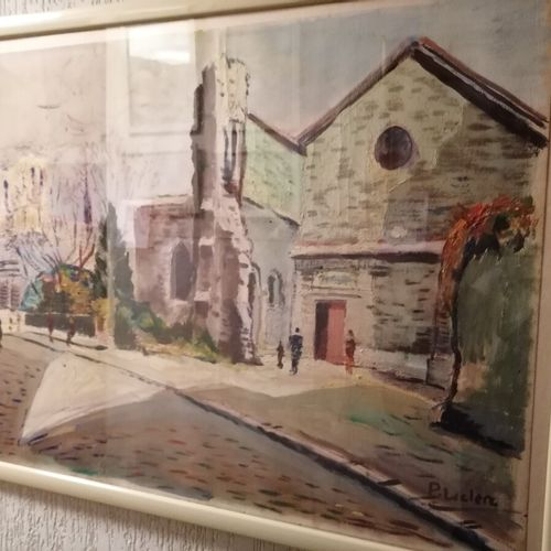 P. LECLERC 2 vues de Notre Dame de Paris, huile sur papier. 49x63 cm