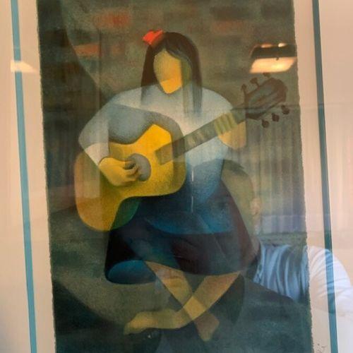 """TOFFOLI """"la musicienne"""" lithographie signée et justifiée 42/75. 33x23 cm à vue"""