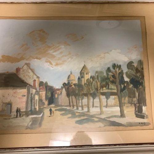 """Lot de 4 pièces: A. HOLI """"rue de village"""" gouache sur papier 30x40 cm + Nicolas …"""