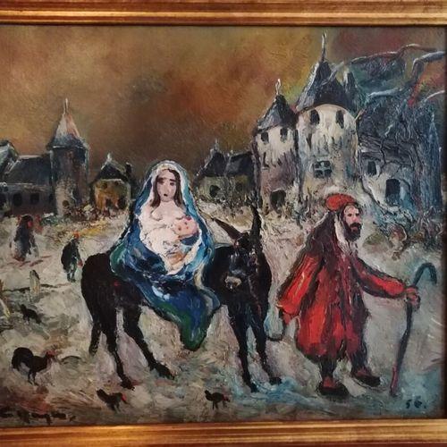"""Antoon KRUYSEN (1898 1977) """"la fuite en Egypte"""", huile sur toile signée en bas à…"""