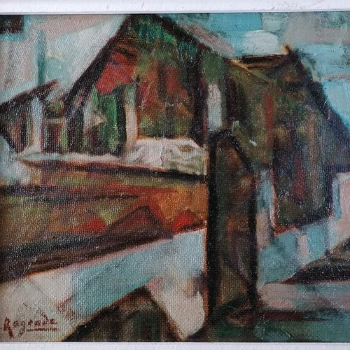 "André RAGEADE ""冬天"",油彩画,32x39厘米"
