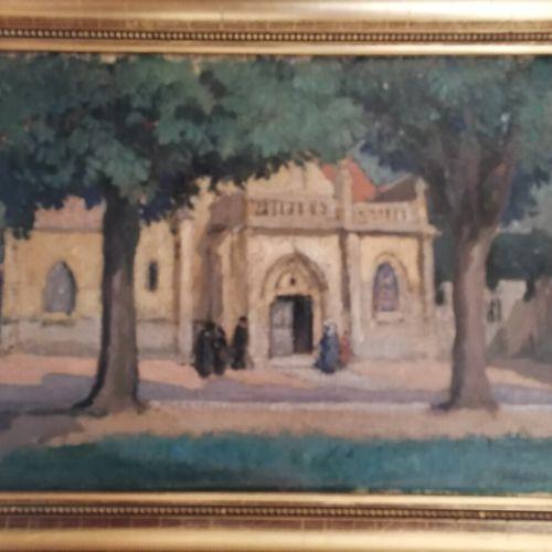 """Maurice Alfred DECAMPS (1892 1953) """"L'entrée de l'église"""", huile sur toile signé…"""