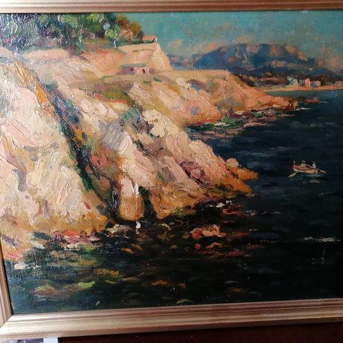 """Ecole Française """"le rivage"""", huile sur isorel. 31x40 cm. On y joint """"les bateaux…"""