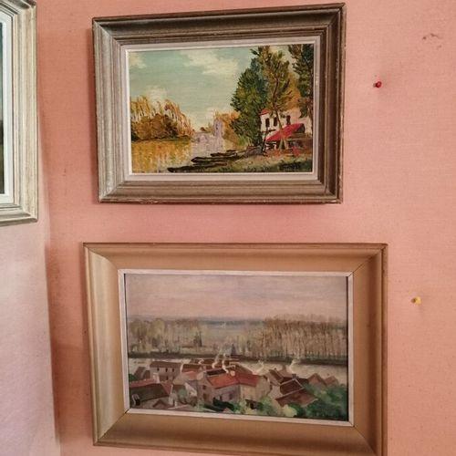 "Alfred Marie LEPETIT ""城市景观 ""布面油画,右下角有签名,27x41cm;Georges FILIBERTI ""le pyla sous …"
