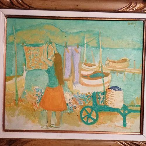 """Dany LARTIGUE """"Toulon avril 1960"""" huile sur toile, signée Dany. 37x45 cm"""