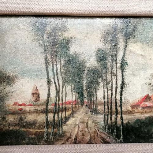 """CRISTO """"le chemin bordé d'arbres"""" huile sur toile 14x21cm; On y joint une icône …"""