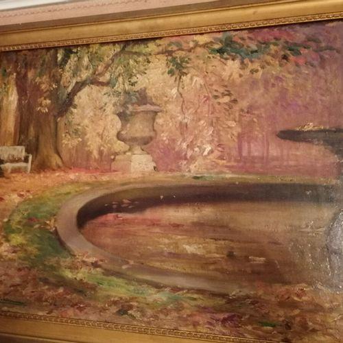 """Pierre Amédée Marcel BERONEAU """"le bassin du parc en automne"""" huile sur panneau s…"""