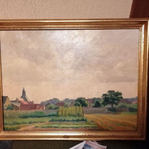 """CAZANOVE """"Paysage de campagne"""" huile sur toile 46x51 cm"""