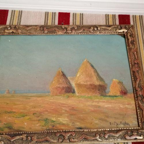 """弗朗索瓦 理查德 德 蒙托龙(1856 1940)""""磨石"""",油画板。23x30厘米"""