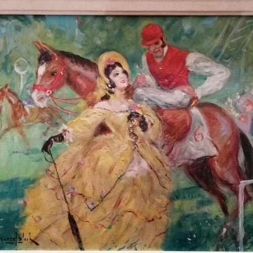 """Marcel BLOCH """"Elégante au paddock"""" huile sur toile signée bas à gauche 33x41 cm"""