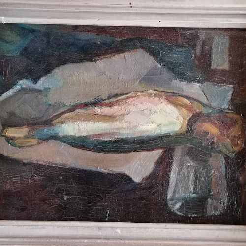 André RAGEADE《有鱼的静物》,布面油画,27x41厘米