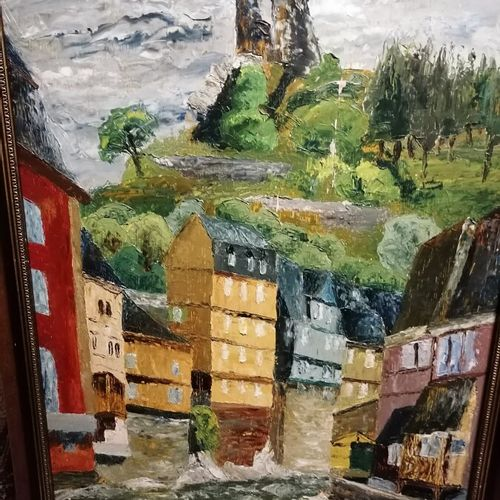 """让 安德烈《读书的人》布面油画49x60厘米;K.PIETSCH """"village de montagne"""" 油画板上签名,1955年,65x50厘米"""