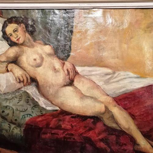 """法国学校20世纪的 """"卧姿裸体 """"布面油画,44x52厘米"""