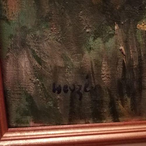 "Edmond Amédée HEUZE (1884 1967) ""la sieste près du canal"",布面油画,左下角签名。"