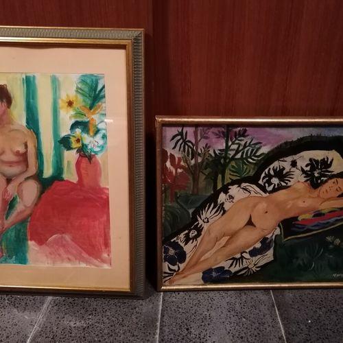 """HILAIRE """"nu au vase de fleurs"""" aquarelle et gouache, datée 98 48x33 cm ; On y jo…"""