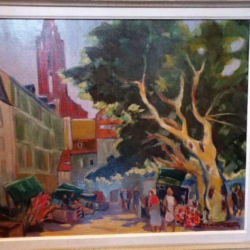 "Jean VILLETTE ""Marché neuf à Strasbourg"" 布面油画,右下方有签名。46x52厘米"