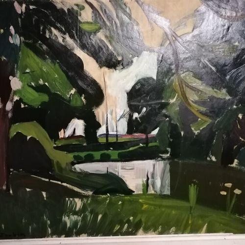 """(sous sol bureau) Georges JOUBIN """"les bords de l'étang"""" huile sur panneau. 49x62…"""