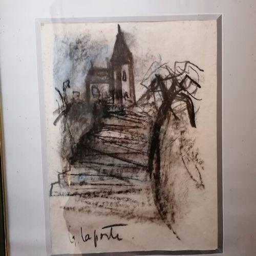 """G.LAPORTE """"教堂的风景 """"木炭画"""