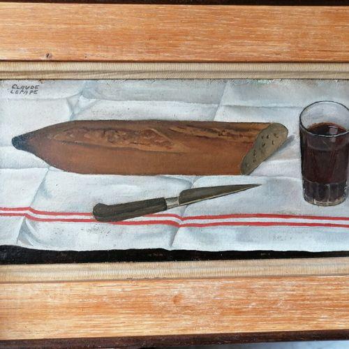 Claude LEPAPE (1913 1994)《有面包的静物》,纸板油画,左上角有签名。
