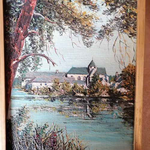 """MARCOO """"le berger"""", huile sur toile marouflée sur carton. 25x44 cm. On y joint M…"""