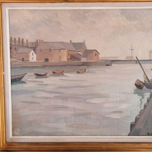 """Louis Robert ANTRAL (1895 1939) """"Port de Fécamp"""", huile sur toile signée en bas …"""