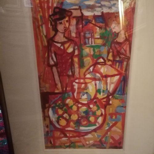 """Charles WALCH (1896 1948) """"Jeune femme à la fenêtre"""", gouache sur papier signée …"""