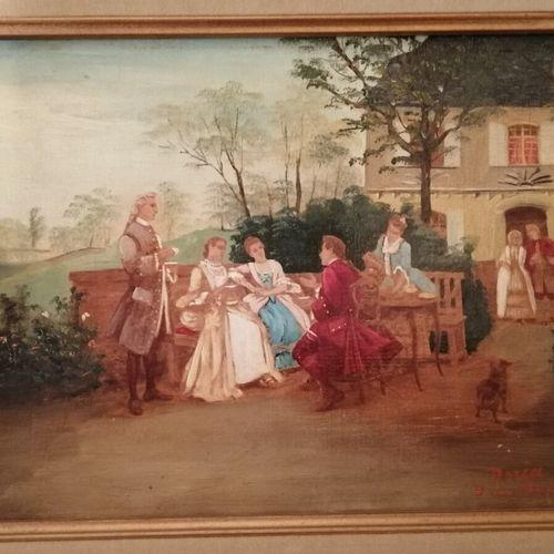 """Doria D.C. MEISSONNIER """"la discussion galante"""" huile sur toile signée en bas à d…"""