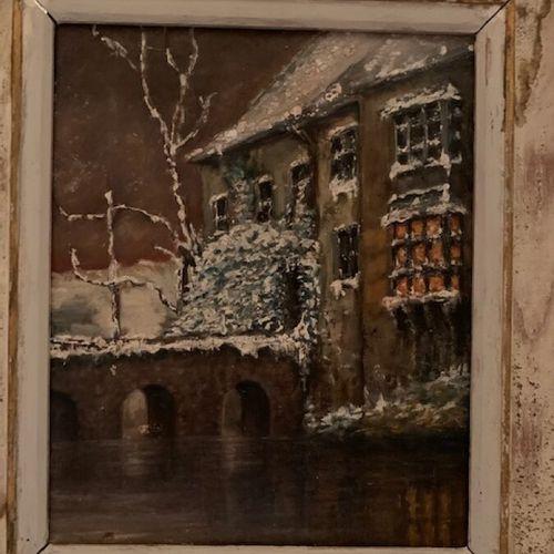 """CADIER """"le bord du lac"""" huile sur isorel; on y joint """"maisons au bord de rivière…"""