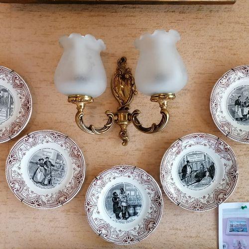 SARREGUEMINES Suite de 5 assiettes à dessert en faïence fine décor humouristique…