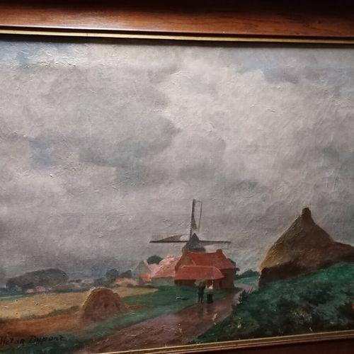 """Victor DUPONT """"le moulin"""" huile sur toile signée bas gauche."""