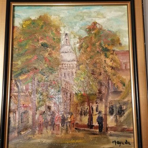 """MAYADE """"le Sacré Coeur"""" huile sur toile signée bas à droite 54x44cm"""