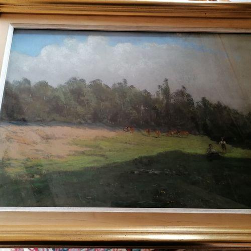 Emile CAGNIART (1851 1911)《草地上的奶牛》纸上粉彩,右下方有签名。29x42厘米