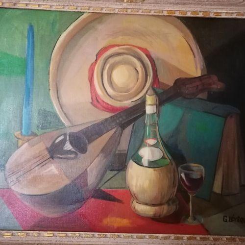 "G.LEVEQUE ""Nature morte à la mandoline"",布面油画,右下角有签名,58x70厘米"
